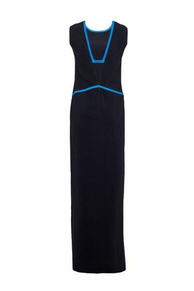 Abendkleid maxi schwarz Rückenausschnitt Hugo Boss
