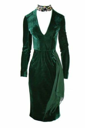 Abendkleid für Cocktailparty elegantes Kleid Samt grün