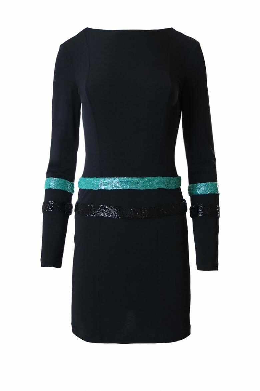 Party Mini Jersey Kleid Pailletten schwarz leihen dress