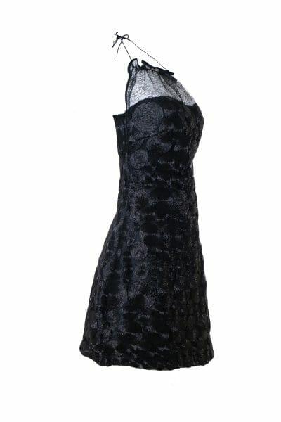 Party Mini Neckholder Kleid Pailletten schwarz mieten dress