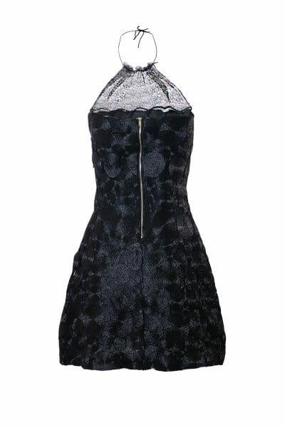 Party Mini Neckholder Kleid Pailletten schwarz leihen dress