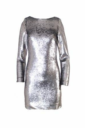 Party Mini Kleid Pailletten Silber zum mieten dress