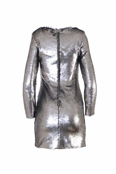 Party Mini Kleid Pailletten Silber mieten dress