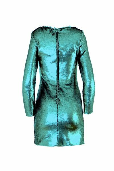 Party Mini Kleid Pailletten grün leihen dress