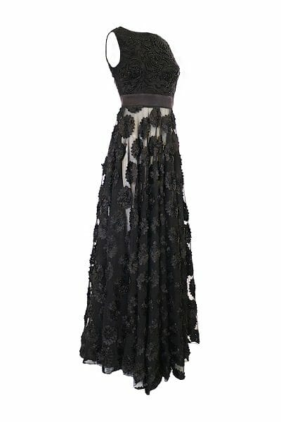 Verziertes Maxikleid mit transparentem Rock zum mieten rent dress