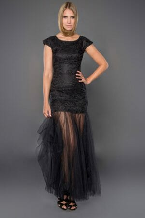 Maxikleid für Ball mit geblümtem Saum dress for prom mieten