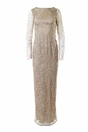 Besticktes Ballkleid Maxi Gold perfekt für Gala Night oder Roten Teppich, miete Kleider für glamouröse Events