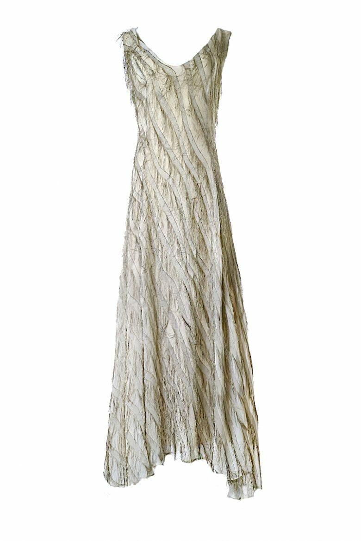 Golden maxi evening dress Fransenkleid