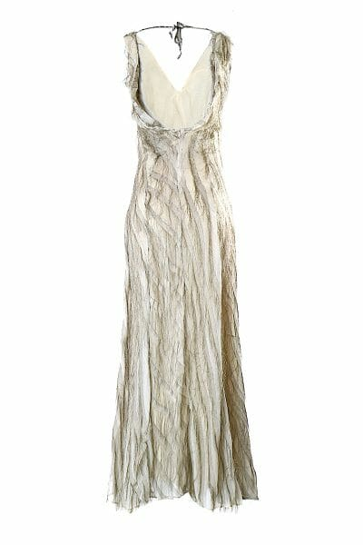 Golden maxi evening dress Fransenkleid