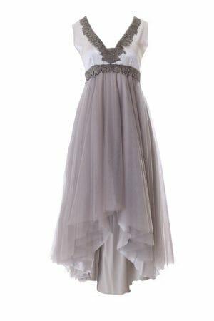 Ballkleid silber mit Pailletten zu leihen ball dress