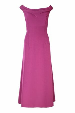 Violet Midi Kleid U-Boot Ausschnitt Abendmode mieten plus size