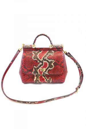 Dolce und Gabbana Red Python Miss Sicily Designer Tasche