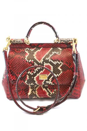 Dolce und Gabbana Red Python Miss Sicily Designer T