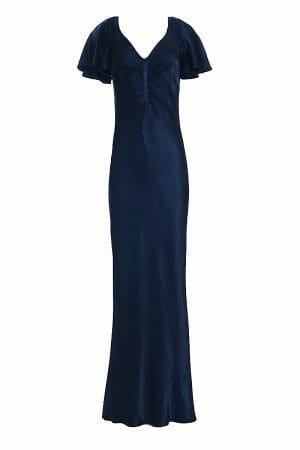 Abendkleid maxi blau V-Ausschnitt