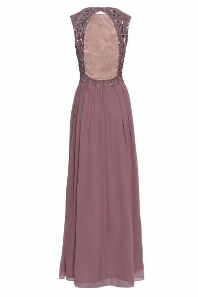 Abendkleid maxi rose Rückenausschnitt Pailletten