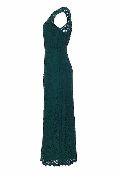 Hochgeschlossenes, Midaxi-Kleid aus Spitze