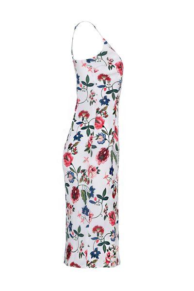 Weisses Midi-Trägerkleid mit Blumendruck