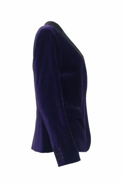 Blazer aus Baumwollsamt mit Satinbesatz