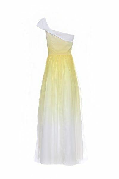 Maxikleid aus Tüll mit One-Shoulder-Träger in gelber Batik-Optik
